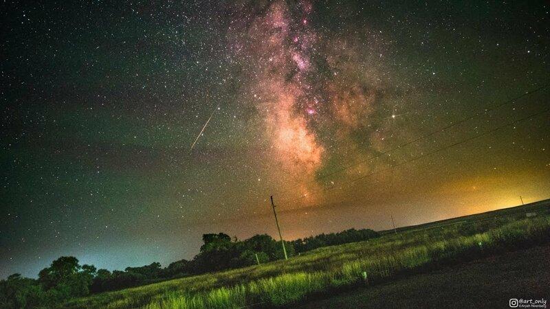 Вращение Земли на фоне галактики Млечный Путь