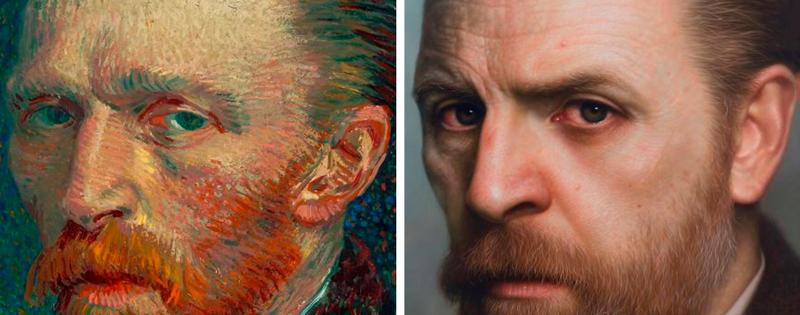 Художник рисует портреты моделей из прошлого
