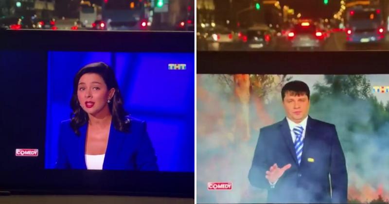 «Никаких пожаров - все под контролем»: Харламов и Кравец показали пародию на российское ТВ