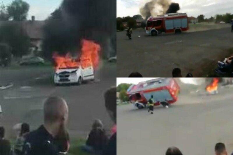 Венгерские пожарные хотели удивить показательными выступлениями, но что-то пошло не так