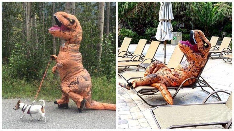 Надувной костюм тираннозавра заполонил Инстаграм