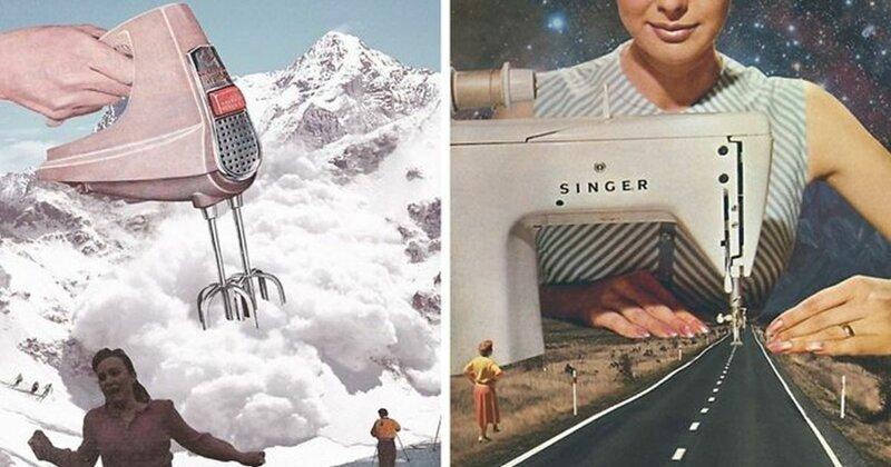 38 сюрреалистических коллажей из ретро-фотографий и старой рекламы