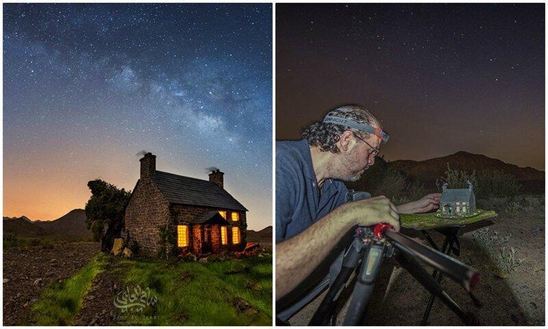 Волшебство: миниатюрные домики на фоне звездного неба