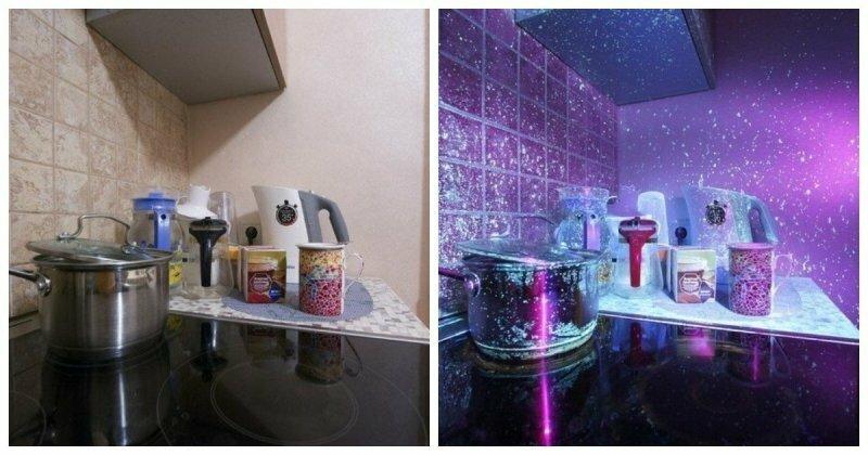 Как выглядит обычная кухня в ультрафиолетовом свете?