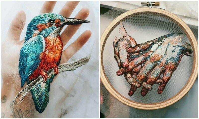 Московская мастерица вышивает нитяные шедевры на тюле
