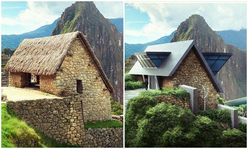 Графические дизайнеры переделали древние дома в современной манере