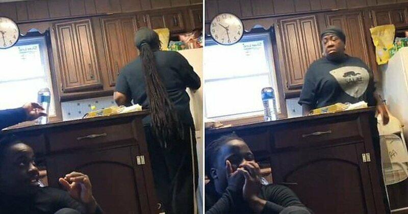 Видео: парень решил разыграть свою мать и напугал ее не на шутку
