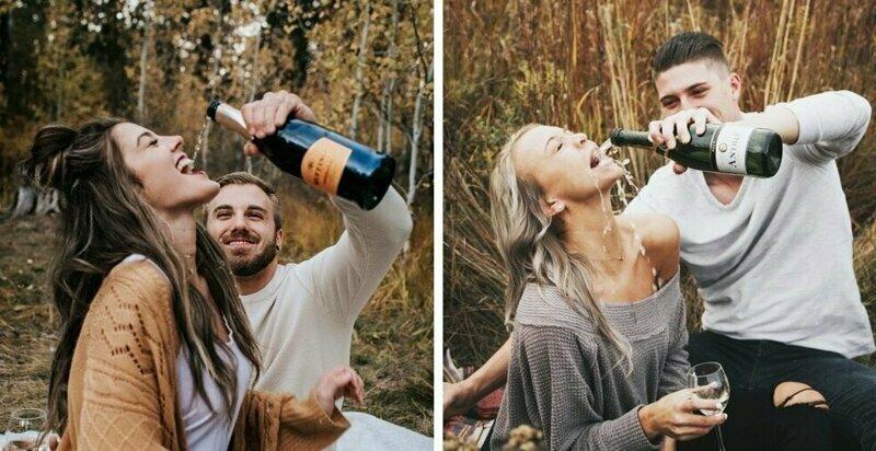 Невеста захотела фото с шампанским, но жених переборщил и превратил романтичную фотосессию в комедию