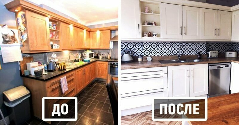 Девушка не хотела тратить большие деньги на новую кухню и решила преобразить её самостоятельно