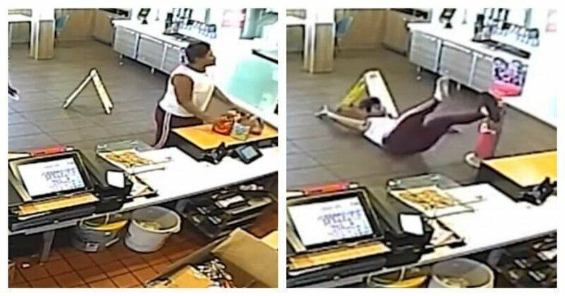 Поругавшаяся с сотрудницей Макдоналдс женщина поймала своим лицом блендер