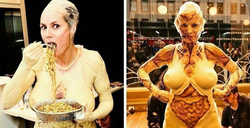 Королева Хеллоуина: Модель Хайди Клум показала свой костюм зомби-пришельца