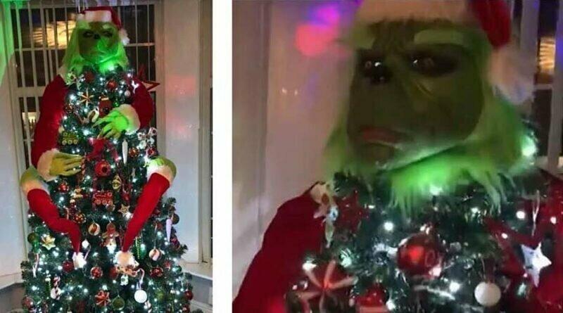 Рождественская ёлка с реалистичным Гринчем