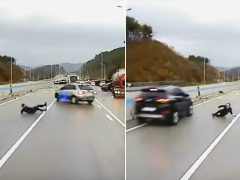 Оказавшегося на обледеневшей дороге мужчину несколько раз чуть не сбили неуправляемые автомобили