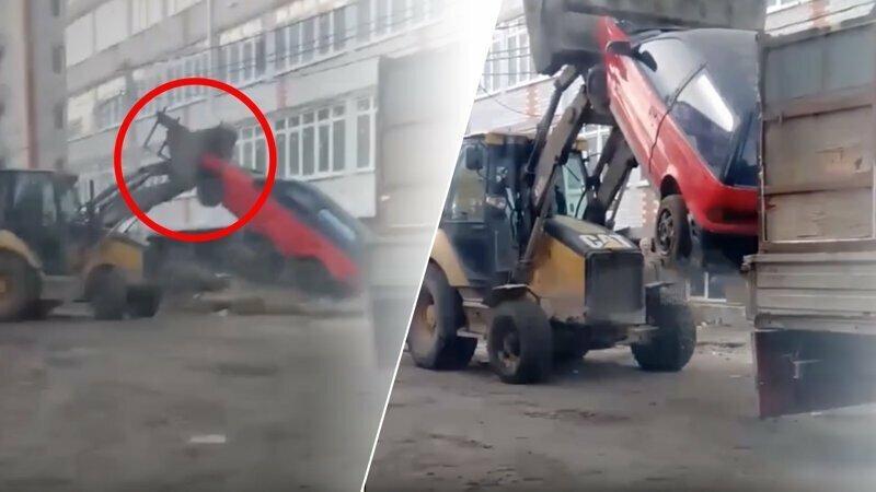 Трактор дерзко собирает машины с улиц Краснодара