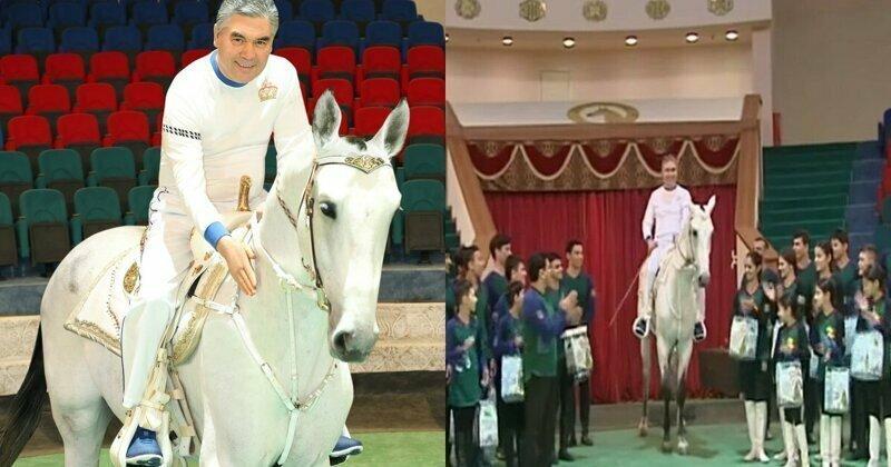 И жнец, и швец: президент Туркменистана прогарцевал на коне по арене
