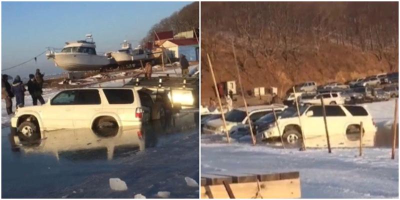 Во Владивостоке несколько десятков машин провалились под лёд