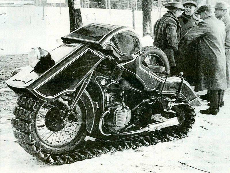 Гусеничный мотоцикл-снегоход BMW Speziel Tr500 «Schneekrad»