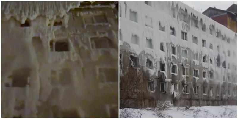 В Иркутске многоэтажка полностью покрылась льдом из-за коммунальщиков