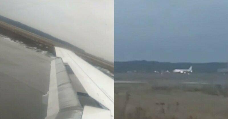 Пассажир экстренно севшего лайнера опубликовал видео приземления на недостроенную полосу