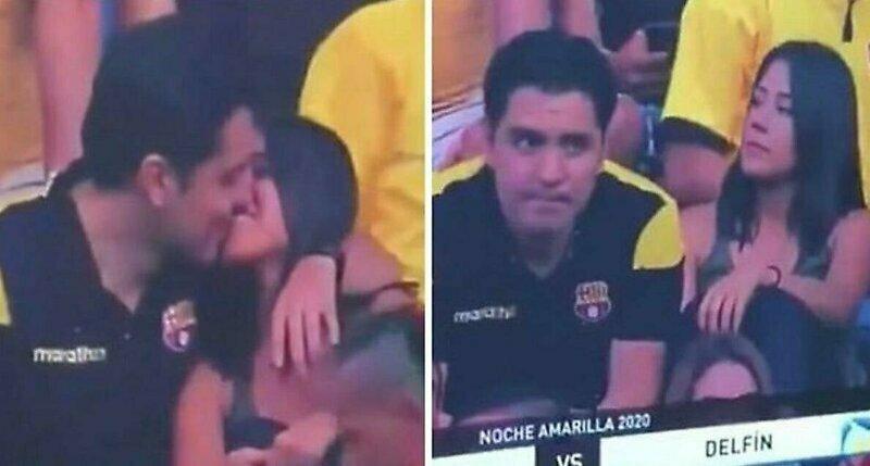 Неловкий момент, когда пришел на матч с любовницей и попал на камеру