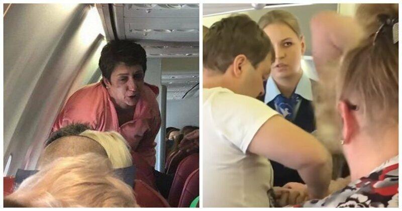 Буянившую пассажирку самолета замотали скотчем