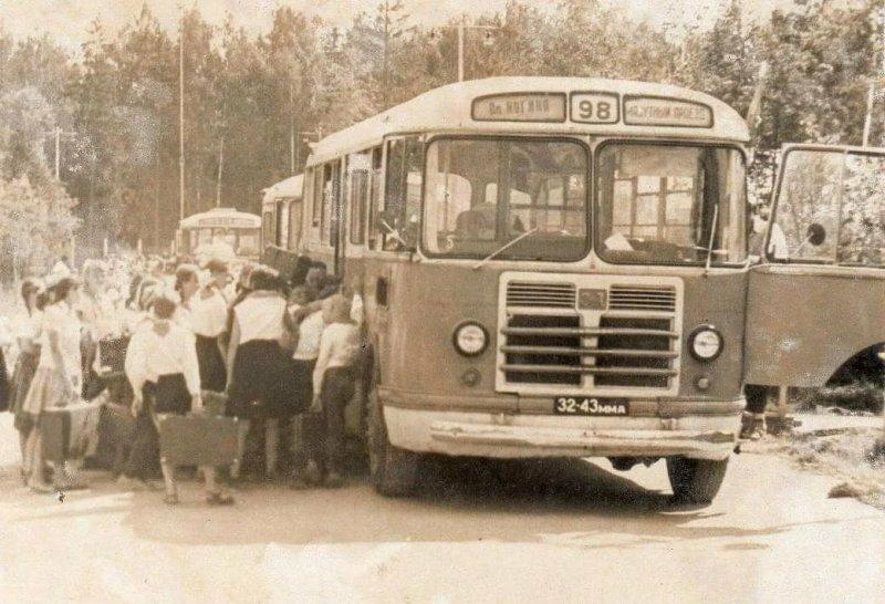 Советские автобусы, которые доставляли детей в пионерские лагеря