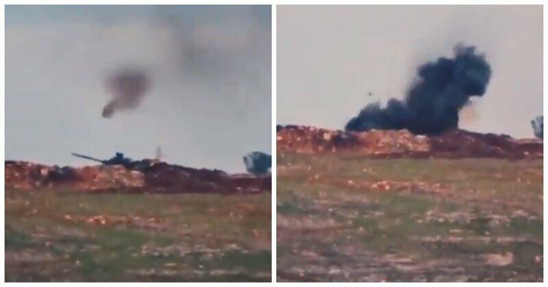 Броня крепка: опубликовано видео попадания противотанковой ракеты в Т-90А