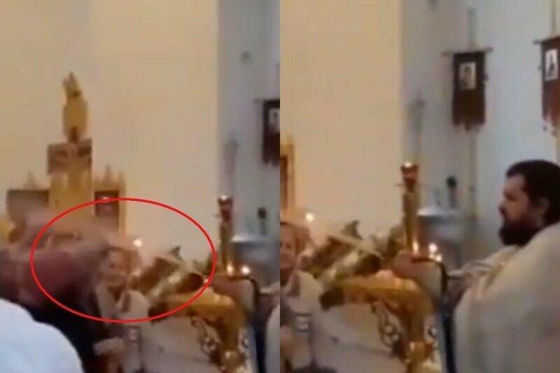 В храме РПЦ прихожан окропили струей из шланга