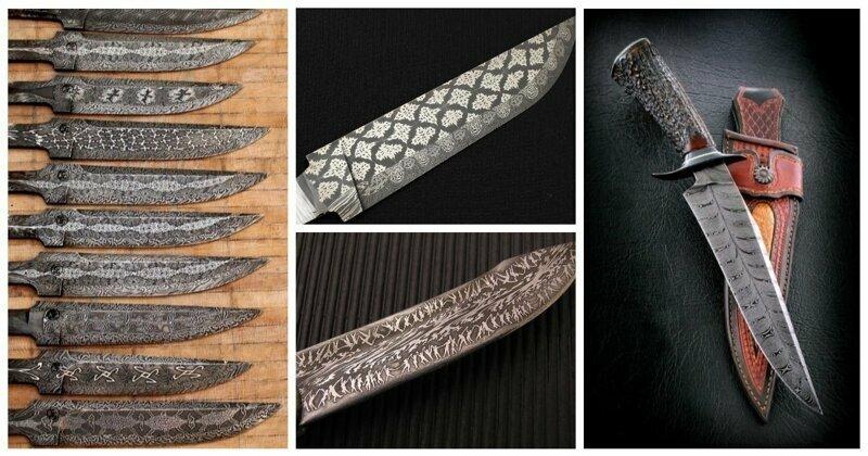 """Великолепные """"перья"""": мозаичные клинки из дамасской стали"""