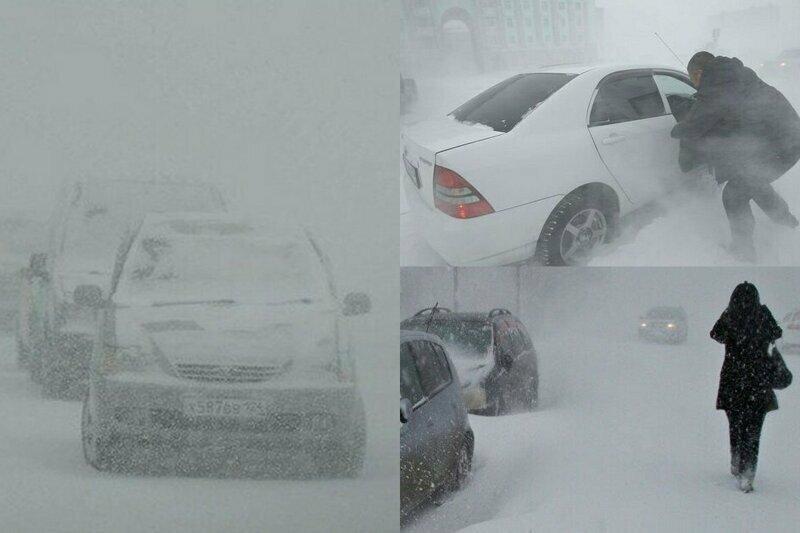 Унесенные ветром: пурга в Норильске сметает с улиц людей и транспорт