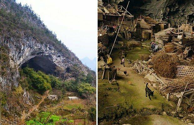 Внутри китайской пещеры расположилась деревня