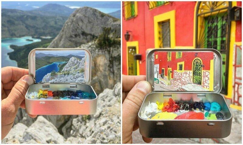 Художник рисует мини-копии пейзажей в коробочках из-под леденцов