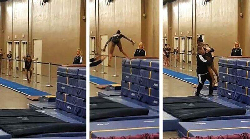 Тренер удачно подстраховал маленькую гимнастку