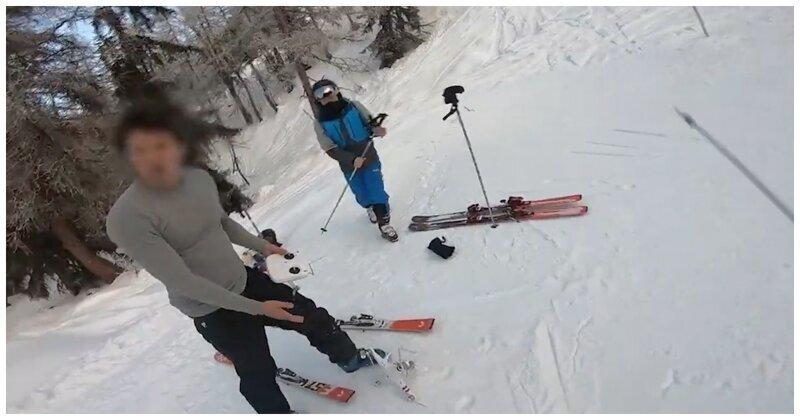 Разборка лыжников на трассе