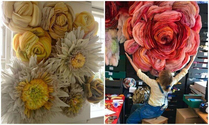 Датская художница мастерит гигантские бумажные цветы