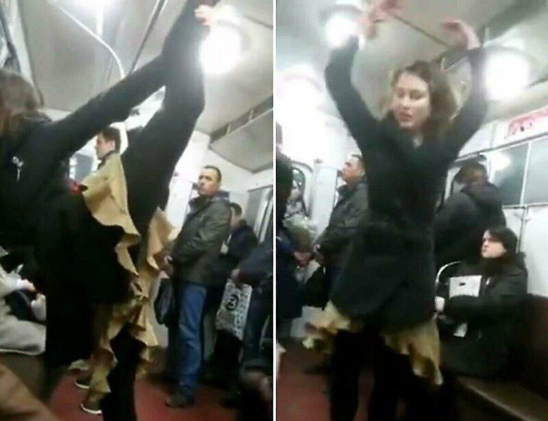 Странный танец девушки в вагоне метро Санкт-Петербурга