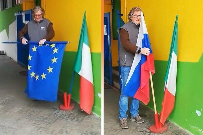 В Италии благодарят Москву за гуманитарную помощь, вывешивая российские флаги