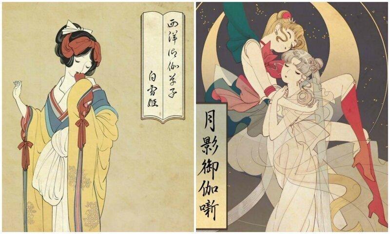 Мультяшные принцессы, нарисованные в японской технике укиё-э