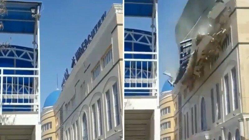 Ураганный ветер снес крышу университета в Казахстане