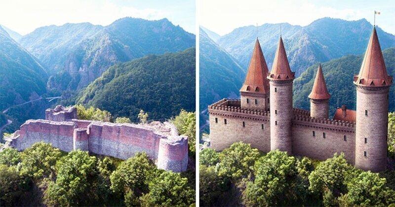 Как выглядели 7 известных европейских замков до того, как превратились в руины