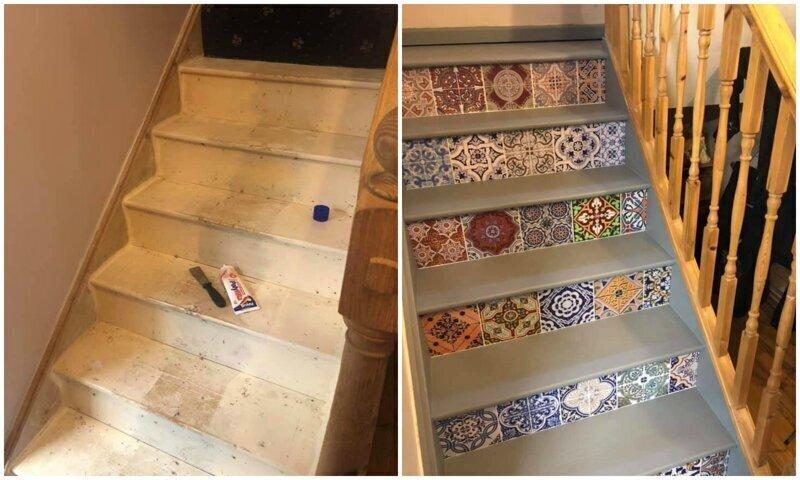 Девушка креативно преобразила лестницу с минимальными затратами
