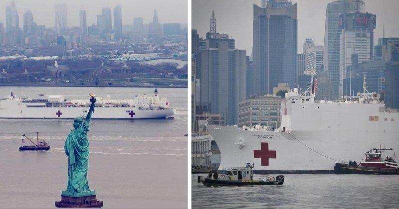 В Нью-Йорк прибыл гигантский плавучий госпиталь ВМС США