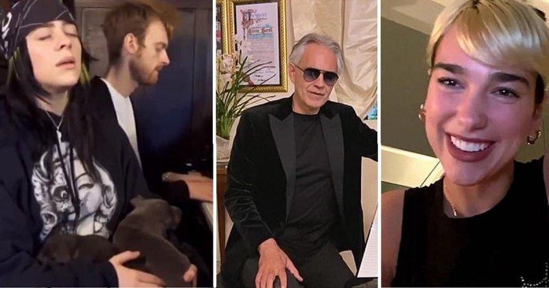 Билли Айлиш, Андреа Бочелли и еще несколько звезд выступили на дому