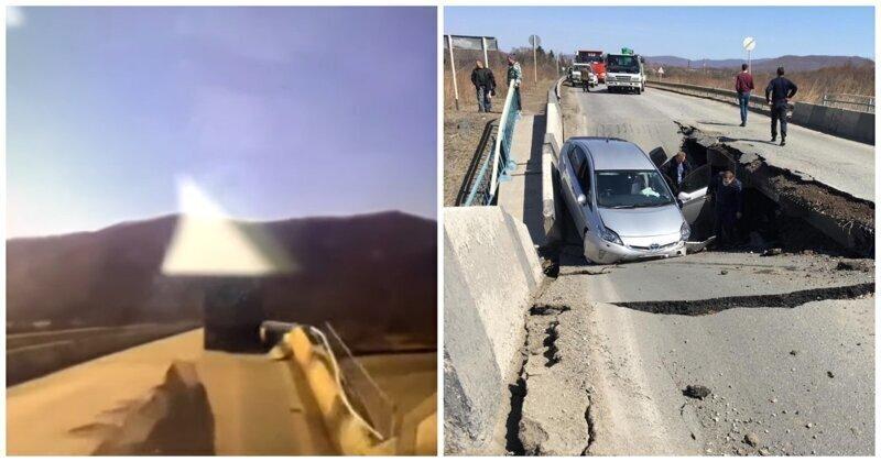 В Приморье мост рухнул прямо перед капотом автомобиля
