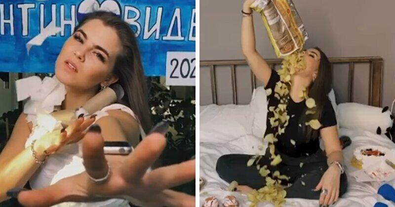 Соня Таюрская из Little Big спела песню «Самоизоляция» в платье из туалетной бумаги