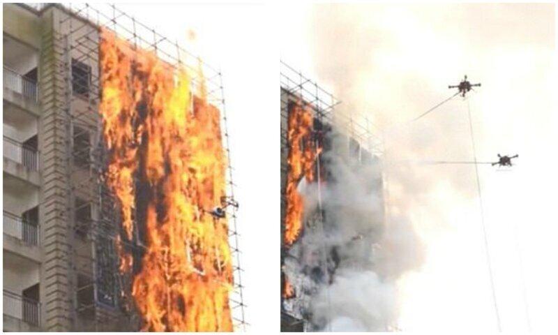 Китайские пожарные дроны потушили высотку за считанные минуты