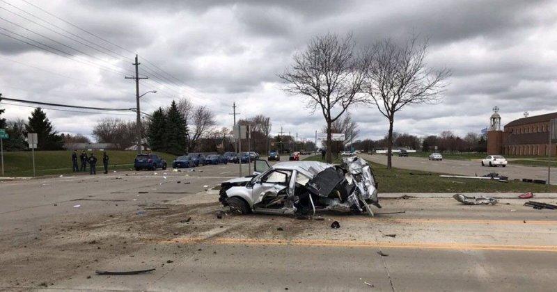 Автомобиль разорвало на части: погоня за угонщиками в США закончилась страшной аварией