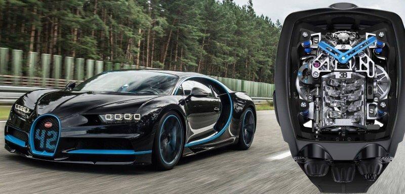 Необыкновенные часы с миниатюрным 16-цилиндровым двигателем от Bugatti Chiron