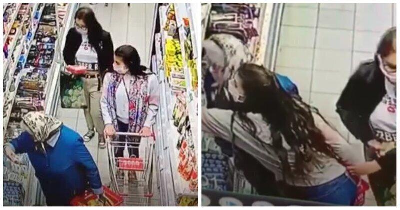 Две карманницы, укравшие кошелек у пенсионерки в Таганроге, попали на видео