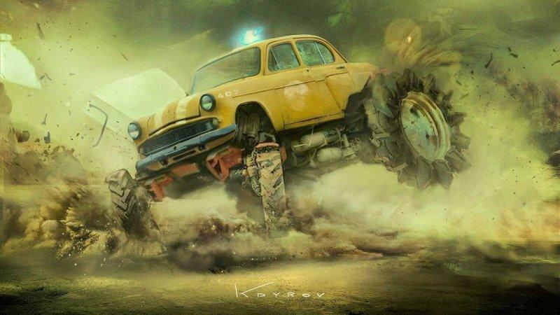 Постапокалиптические автомобили художника Данияра Кдырова